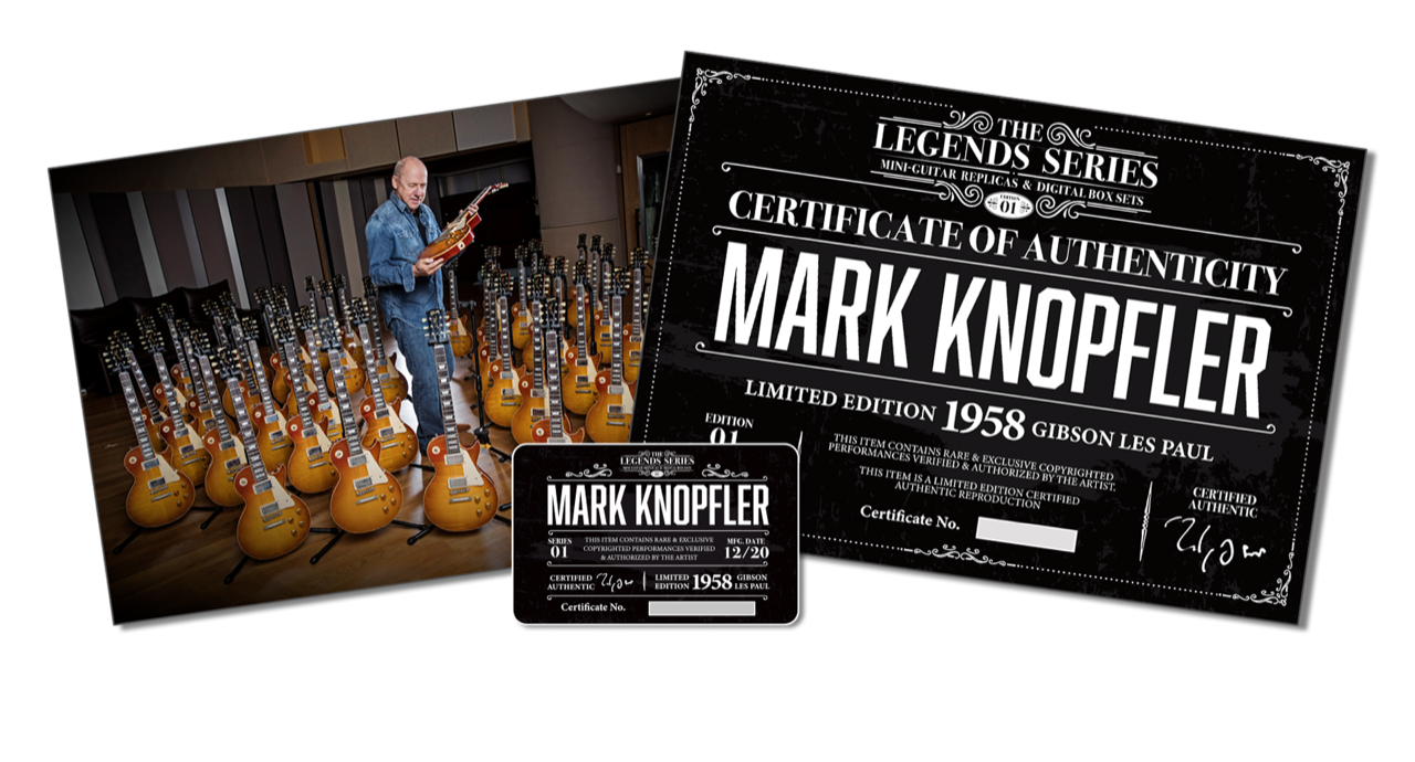 Mark Knopfler surrounded by guitars, Legends Series Authenticity certificates